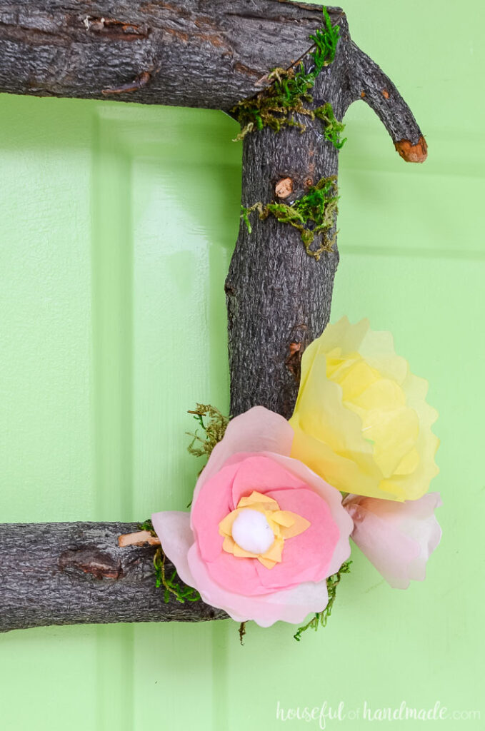tree branch wreath diy with tissue paper flowers