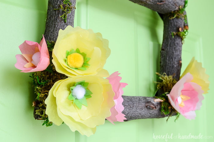 tree branch wreath diy with spring paper flowers
