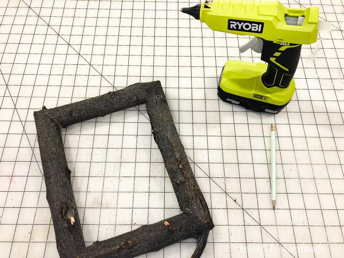 wood frame with ryobi on table