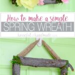 Two pictures of the spring flower wreath made out of branches.