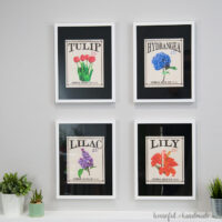 Four flower art prints that look like vintage seed packets in white frames with black mats above a mantel.
