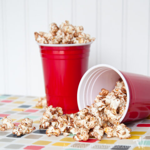 Chocolate Kettle Corn in red cups