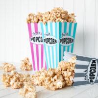 Churro Caramel Popcorn in popcorn tubs