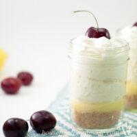 Lemon Burst Parfait on counter with cherries