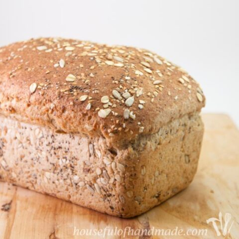 whole grain seed bread on counter