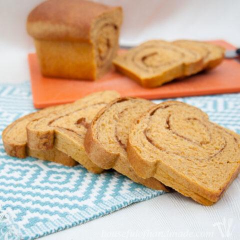 pumpkin bread sliced on counter