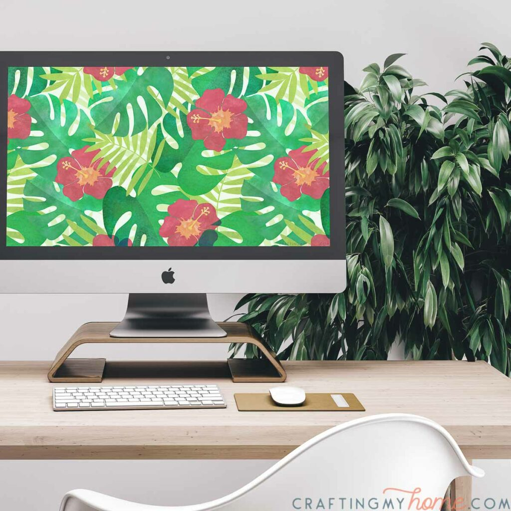 Free digital background with a tropical design on a computer screen.